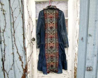 Lg. Desert Rose Southwestern Denim Blue Jean Duster Coat// Wearable Art Coat// Reconstructed Coat// emmevielle
