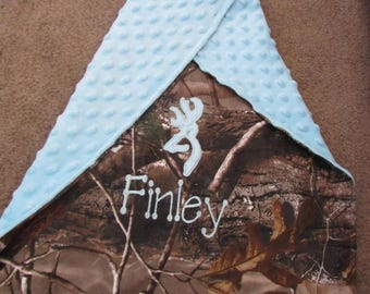 Personalized Baby Newborn Infant Toddler Mossy Oak or Realtree Camo Camouflage Blanket 28 x 30  with Minky Backing Deerhead Embroidered