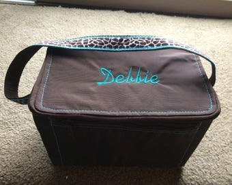 Sample Sale AS IS Brown aqua trim Lunch tote bag box -Monogrammed with Debbie---Ready to ship Immediately