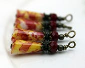 Vintage Style Yellow Red Teardrop and Red Rondelle Crystal with Brass Bead Dangle Charm Drop Set