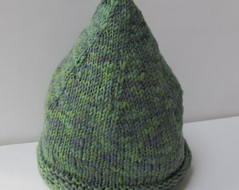 Gnome Hat: Adult Medium, Hand-spun, Hand-dyed and Hand-knit in soft, Merino Wool