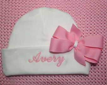 Baby Girl Hat Personalized with Embroidered Monogram Optional Pink Bow Newborn Infant Baby Shower Gift Coming Home Outfit Take Home Hospital