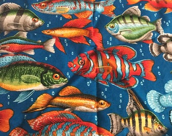 Realistic Fish Quilting Cotton Fabric, Half Yard