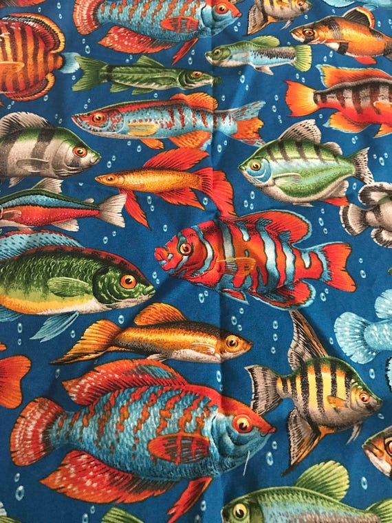 Realistic fish quilting cotton fabric half yard from for Fish fabric for quilting