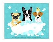 293D Bathroom Print - Three Dogs in Bubble Bath Wall Art - Pug Print - Boston Terrier Wall Art - Jack Russell Print - Dog Art - Bathroom Art