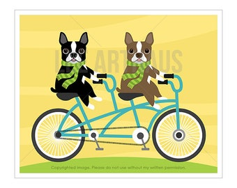 75D Dog Print - Two Boston Terriers on Bicycle Wall Art - Funny Dog Art - Bicycle Art - Dog Wall Art - Boston Terrier Wall Art - Dog Gift