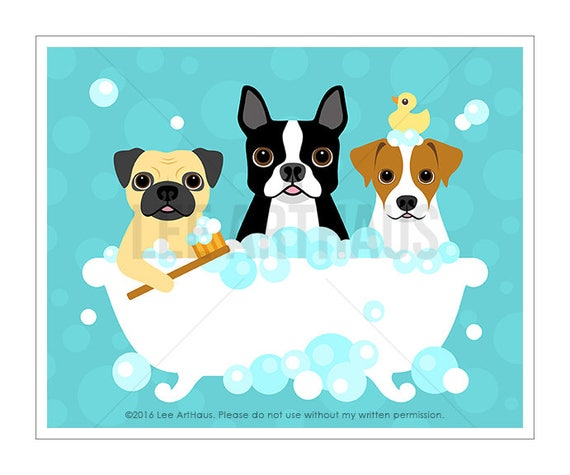 293D Bathroom Print - Three Dogs in Bubble Bath Wall Art - Pug Print - Boston Terrier Wall Art - Jack Russell Print - Dog Art - Bathroom Art