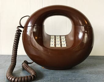 vintage donut phone - round brown push button telephone - Western Electric sculptura