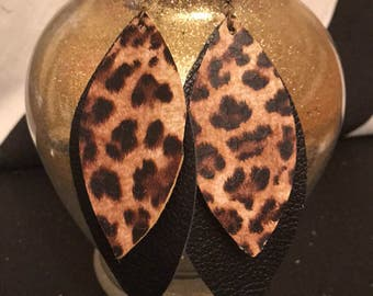 Leather leopard earrings