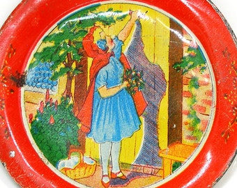 1930's Little Red Riding Hood Tin Litho Toy Tea Plate by Ohio Art Co.