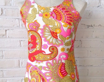 1960s Large Paisley print sleeveless nylon top, size S