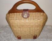 Vintage Purse Basket Weave Wicker Handbag Wood Handle 1960s Retro Chic