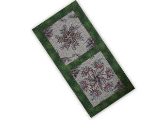 Table Runner Handmade Quilted Pieced Kaleidoscope Patchwork Pink Green Beige Free USA Shipping