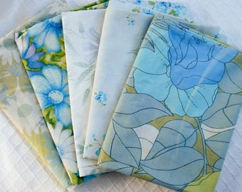 Vintage pillowcases - set of 5 - tranquil blues and greens