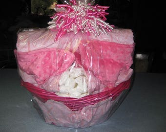 Cute Pink Paris  Baby Gift Basket Blanket with Lace, Burp Cloths, Wash Cloths, All in Matching Basket