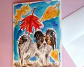 Papillon Card, Dog Card. Hand Painted Cards, Fall Cards, Dog Art, Dog Paintng, Original Watercolor, Fall Theme, 5X7 Watercolor