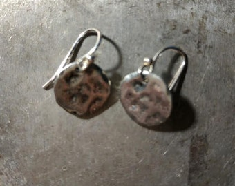 Pewter Disc Earrings on Sterling Wires