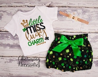 St Patricks Day Baby Outfit, Baby Girl Clothes, Toddler Girl Clothes, Little Miss Lucky Charm Glitter Shirt and High Waist Bloomers