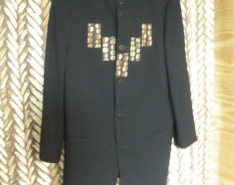 FREE SHIP Decorated Donna Karan Italy black womens wool blazer size M or Medium with brown, rust and cream accents