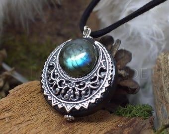 "Amulet Protection Necklace Pendant ""Lleuad"" Labradorite Moon Wicca - Wood Silver-Filled Brass Gemstone - Pagan Triple Goddess"