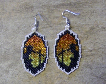Farewell Earrings Hand Made Seed Beaded