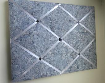 "11""x14"" Silver Rain Batik Memory Board, Bow Holder, Bow Board, Memo Board, Vision Board, Photo Display, Business Card Display, Grey Batik"