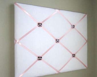 """On Sale 16""""x20"""" White  Light Pink French Memory Board, Bow Holder, Bow Board, Vision Board, Photo Display, Business Card Display, Ribbon Boa"""
