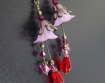 Earrings Drop Dangle Pierced Fuchsia Pink Red Swarovski Crystals Antique Bronze GREAT Gift