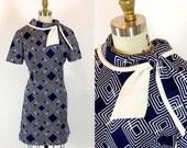 Vintage 1960s Dress | 60s Mod Op Art Dress | Large - XL