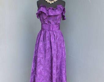 Vintage 80s Purple Strapless Dress, John Richard of California, Full Skirt, Party Dress, Prom