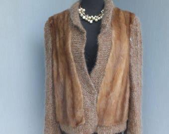 Vintage Mink and Mohair Sweater, House of Furs Sacramento Ca., Mink Jacket, Fur Sweater Jacket