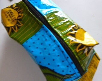 Upcycled Plastic Bag Mini Dopp Bag in Blue, Green and Yellow