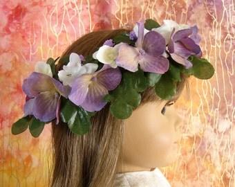 Flower Crown for American Girl 18 Inch Doll Flower Crown Lilac and White Flower Crown Doll Summer Accessory Am Girl Doll Purple Flower Crown
