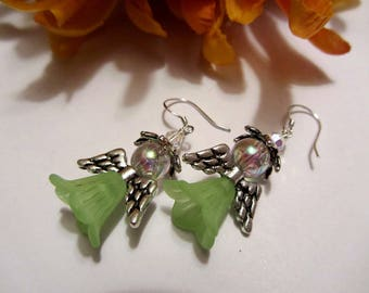 Garden Fairy or Angel Earrings Holiday Earrings Artisan Earrings Green Earrings SRAJD Handmade Mothers Day Gift