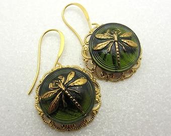 Dragonfly Earrings Green Czech Glass Dragon Fly Earrings Drop Dangle Earrings Gold Filigree SRAJD