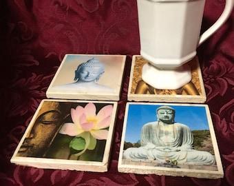 Travertine Tile Coaster Set  Buddah