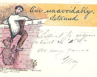 Am unavoidably detained vintage postcard, dog pulling man by clothes vintage post card, SharonFosterVintage