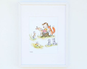 Children's Art -- Woodland Story Girl -- Art Print