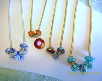 Snake Chain Necklace ... silver plated, gold plated, faceted glass, lamp worked floral glass ... #703, #702