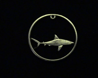 2008 Galapagos Islands - cut coin pendant - w/ Great White Shark, King of the Sea - BRAND NEW