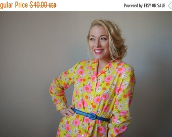 ON SALE NOS~1960s Vibrant Floral Day Dress~Size Extra Small to Small