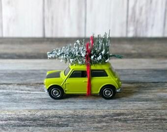 Chrismtmas Ornament Mini Cooper Ornament Tree on Car ornament Holiday Decor Retro Decor