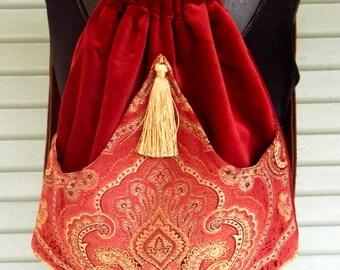 Brick Red Medallion Tapestry Boho Backpacks tapestry sling bag rust velvet tassel  cinch bag tapestry book bag