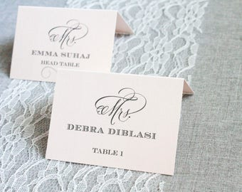 Blush Pink Wedding Place Cards | Blush Reception Escort Cards | Formal Wedding | Classic Reception | Emma & Jeffrey - Custom Colors