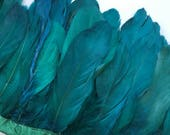 GOOSE FEATHER FRINGE , Two tone Oasis Teal Green / 465