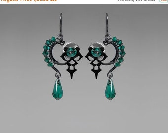 Steampunk Earrings with emerald Swarovski Crystals, Swarovski Earrings, Crystal Earrings, Statement Jewelry, Youniquely Chic, Hekate II v13