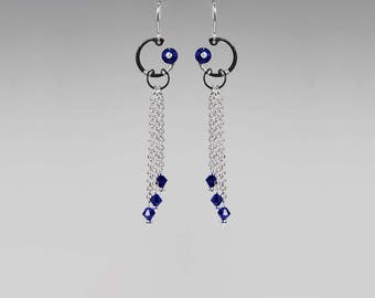 Swarovski Crystal Earrings, Dark Blue, Wire Wrapped, Long Earrings, Fancy Jewelry, Indigo, Gift For Her, Youniquely Chic, Namaka II v5