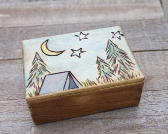 Mini Wood Burned Box - Night Sky- Trinket Box - Jewelry Box