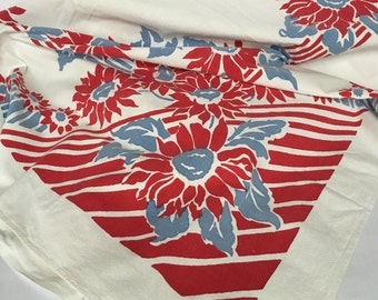 Vintage red and blue table cloth