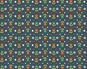 Dutch Treat ~ Floral Stripe Gray ~ Betz White for Riley Blake Designs ~ Woven Cotton by the Yard